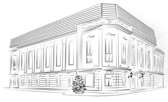 Uzzīmēta Ventspils Kultūras centra fasāde